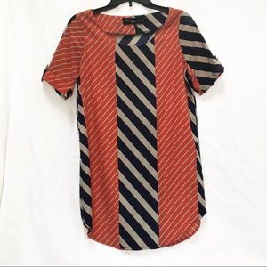 Peach Love Cream Stripe tunic dress in navy orange